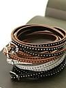 la mode mince multicouche rivet ficelle de 90 cm bracelet en cuir (café, noir, marron, blanc) (1 pc)