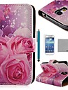 COCO FUN® Pink Rose Silk Pattern PU Leather Case with Screen Protecter and Stylus for Samsung Galaxy S4 Mini i9190