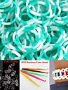 600PCS Lake Blue&White 8-Segment DIY Twistz Silicone Rubber Bands for Rainbow Loom Bracelets with Hook&S-clips
