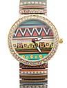 Women's  Popular Simple Fancy Pattern Style Metal Spring Band Wrist Watch