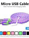 2m v8 micro usb tenacidade de nylon cabo de dados de macarrão para Samsung e outro telefone (cores sortidas)