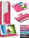 Leather Wallet Case Flip Leather Stand Cover with Card Holder for Samsung S4 I9500(Assorted Colors)