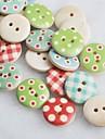 colored recados desenho scraft costura botões de madeira diy (10 peças de cor aleatória)