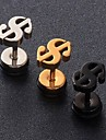 European Dollar Sign  Titanium Steel Stud Earrings(Black,Silver,Gold) (1 Pc) Christmas Gifts