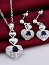 мода (сердце дизайн) посеребренная (включает ожерелье&серьги) инкрустированные циркон комплект ювелирных изделий (1 комплекта)