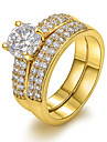 Classic 18K Wide Double Row of Zircon Copper Statement Rings(1 Pc)