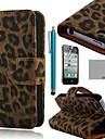 Коко fun® черный Leopard Кожа PU Полный чехол для тела с защитой экрана, стоять и стилус для iPhone 4 / 4s