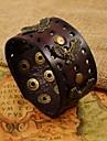 aço inoxidável lanneret rebite largas pulseiras de couro da forma dos homens pu