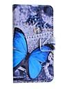 синий шаблон бабочка PU кожаный чехол с подставкой и слот для карт Huawei y330