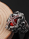 Fashion Stainless Steel Gothic Vampire Cross Inlaid Zircon Ruby Men's Rings (1 Pc)