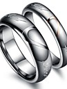 """Classic Lovers Tungsten Steel Heart """"Real Love"""" Couple Rings (2 Pcs)"""
