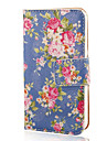 COCO FUN® Rose Blue Pattern PU Leather Full Body Case with Screen Protector, Stand and Stylus for iPhone 4/4S