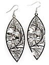 European and American Fashion Oval Dragonfly Copper Earrings Random Color
