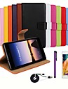 Luxury Ultra Slim Solid Color Genuine Leather Case with Film,Cable and Stylus for Huawei Ascend P7