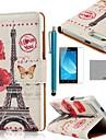 화웨이 어 센드 G6에 대한 화면 보호기 및 스타일러스 코 코 fun® effiel 타워 나비 패턴 PU 가죽 케이스