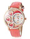 Mulheres Relógio de Moda Quartzo PU Banda Heart Shape Branco Roxa Rose Branco Roxo Rosa