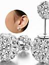 Feminino Brincos Curtos Clássico Prata de Lei Strass Imitações de Diamante Jóias Para Casamento Festa Diário Casual