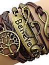Жен. Wrap Браслеты Духовное развитие переплетенный Винтаж Кожа Сплав Любовь бесконечность Дерево жизни Кофейный Бижутерия ДляПовседневные