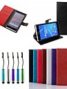 Crazy Horse Leather Wallet Flip Full Body Case with Card Slots with Touch Pen for Sony Z2 (Assorted Colors)