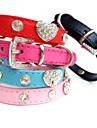 Коты / Собаки Ошейники Стразы Красный / Черный / Синий / Розовый / Розоватый Полиуретановая кожа