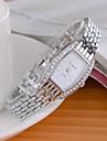 Femme Montre Tendance Montre Diamant Simulation Quartz Imitation de diamant Alliage Bande Etincelant Argent Blanc Noir