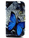 Blue Butterfly Pattern PU Leather Cover with Stand and Card Slot for Samsung Galaxy S3 I9300