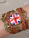 lureme®british национальный флаг часы кожа плетеные браслеты