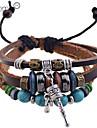 кожаные браслеты шарма lureme®fashion мульти-бусины Бирюзовый тон кожи плетеный браслет