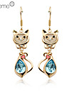 Lureme®High Quality Cat Shape Crystal Eardrop