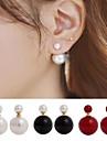 Femme Boucles d'oreille goujon Boucles d'Oreilles Stylées Devant Derrière bijoux de fantaisie Double Face Simple Style Perle Imitation de