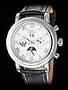 남성 손목 시계 기계식 시계 달력 오토메틱 셀프-윈딩 가죽 밴드 럭셔리 블랙