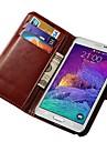 Pour Samsung Galaxy Note Porte Carte Avec Support Clapet Coque Coque Intégrale Coque Couleur Pleine Cuir PU pour Samsung Note 4