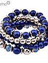 Lureme®Gold Plated Bead Bracelet Set (Assorted Colors)