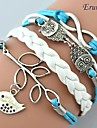 Eruner®Multilayer Alloy Owl Leaves and Infinite Charms Handmade Leather Bracelets