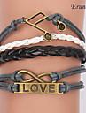 Eruner®Multilayer Alloy Charms Handmade Leather Bracelets