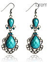 Lureme®Vintage Drop Shaped Turquoise Earrings