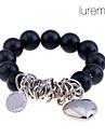 Lureme®Rhodium Plated Loving Heart Pearl Pattern Bracelet