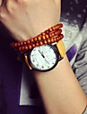 Женские Модные часы Кварцевый Кожа Группа Черный Белый Синий Красный Желтый