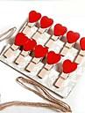 Clips multifuncionales en forma de 10 piezas de madera del corazón (color al azar)