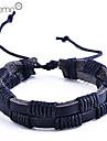 мужская двухрядный PU сплетенный браслет (черный)