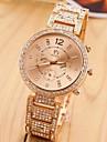 la bande d'acier d'or des femmes avec strass montre à quartz au poignet analogique (couleurs assorties)
