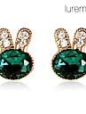 lureme émeraude lapin bijoux SET des femmes (boucles d'oreilles&Bracelet)