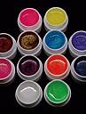 매니큐어 네일 팁 저렴한 12PCS의 mixs 순수한 색 UV 컬러 젤