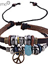 Lureme®Multi-Beads Anti-war Peace Charm  Leather Braided Bracelet