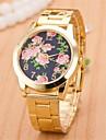 Mulheres Relógio Elegante Quartz Lega Banda Flor Dourada marca-