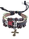 lureme®vintage bracelet en cuir de charme croix