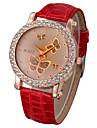 Mulheres Relógio de Moda Quartz PU Banda Brilhante / Borboleta Branco / Vermelho marca-