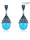 Women's  Vintage Waterdrop Shape Antique Silver Earrings(Blue)