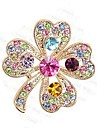 한국어 고급 전체 다채로운 모조 다이아몬드와 quatrefoil 브로치