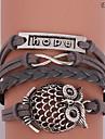 Eruner®Leather Bracelet Multilayer Alloy Hope Owl and Infinity Handmade Bracelet